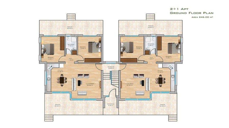 2+1 Apt ground floor plan