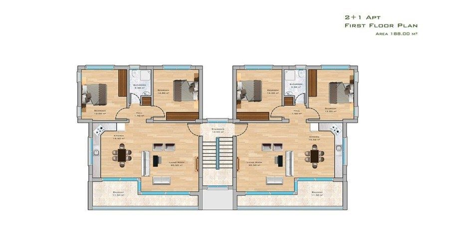 2+1 Apt  first floor plan