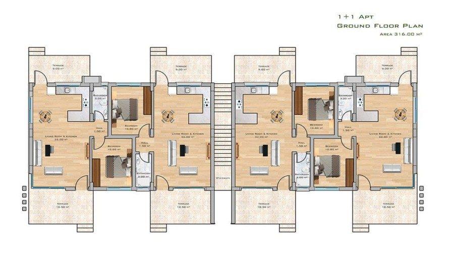 1+1 apt  ground floor plan