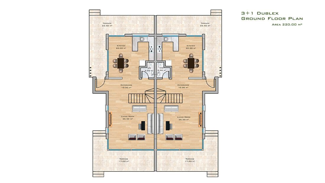 3+1 apt  ground floor plan